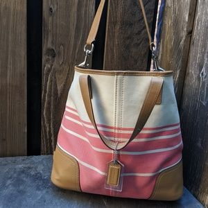 Coach Small Hadley Coral Canvas tote handbag
